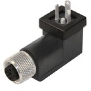 BP1N02VL1B-12FD - DIN/C Adapter male, Led+diode 24V with M12 female 3 poles - h12 earth position